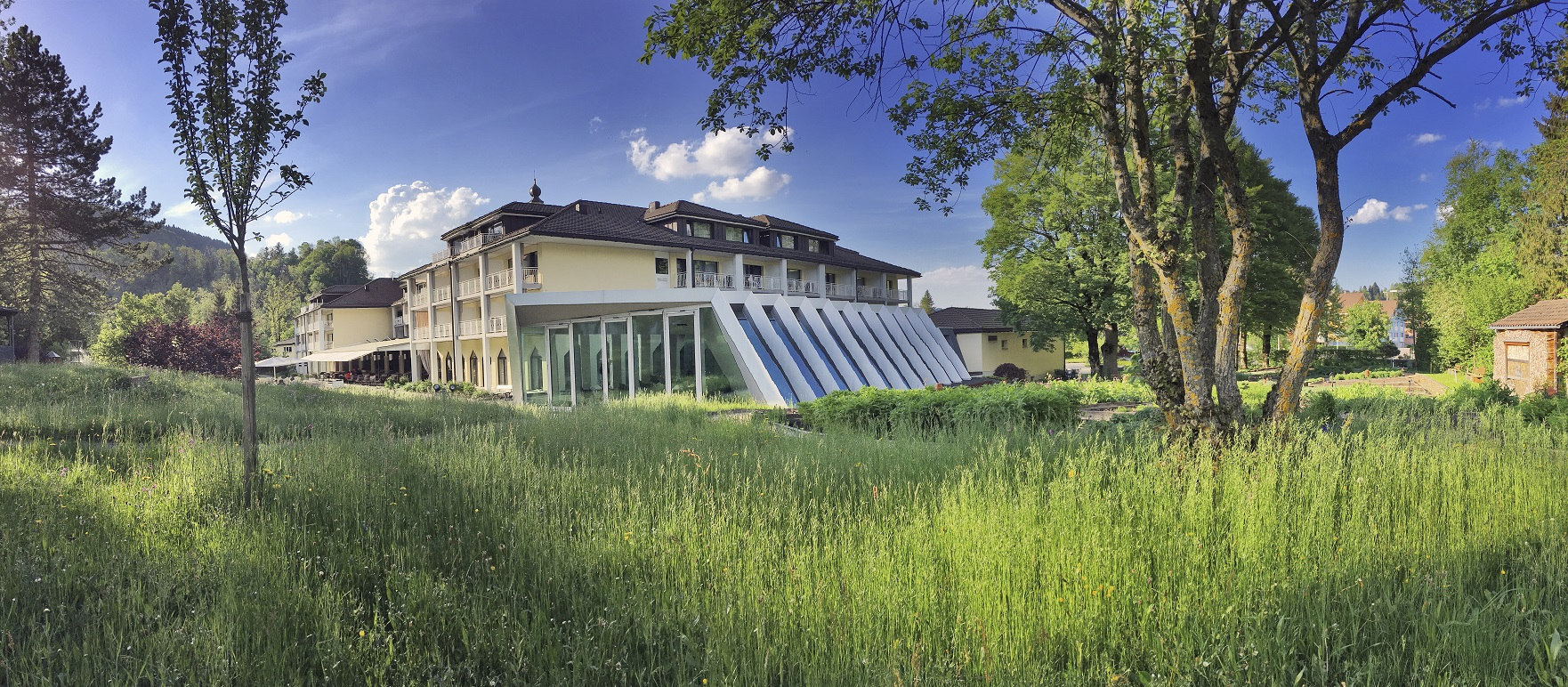 View of the Hotel Hof Weissbad over the flower meadow: Peace and relaxation guaranteed!
